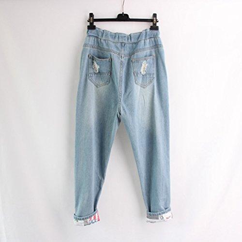Femme Denim Jean Bleu Pantalon Baggy Drawstring Jean Jeans Lumire pour Taille Boyfriend Anguang UEOHZU