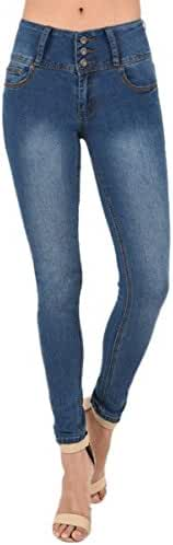 TheMogan Curvy Butt Elastic Waist Band Stretch Soft Denim Skinny Jeans In Black
