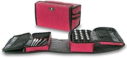 Roo Beauty - Estuche para esmaltes de uñas, bolsa de almacenamiento para manicura, soporte para cosméticos de maquillaje con purpurina rosa: Amazon.es: Belleza
