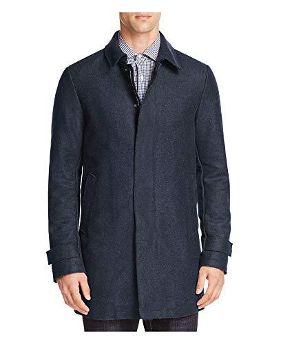 12b15d46292 Herno Mens Blue Heather Wool Blend Padded Zip Coat X-Large 54