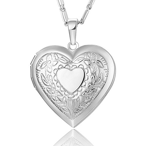 Reizteko Heart Charm Necklace Platinum/Rose Gold/18K Gold Plated Locket Pendant - with 22 Inches Chain (Silver) (Heart Tag Necklace 18k Gold)
