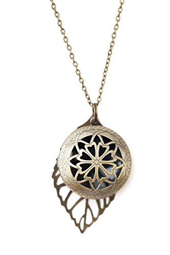 The Oil Collection Antique Bronze Diffuser Necklace with Leaf Charm