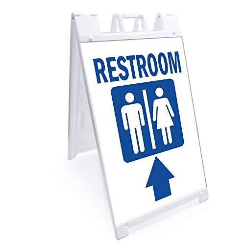 "A-frame Restroom With Up Arrow Sign With Graphics On Each Side | 24"" X 36"" Print Size 