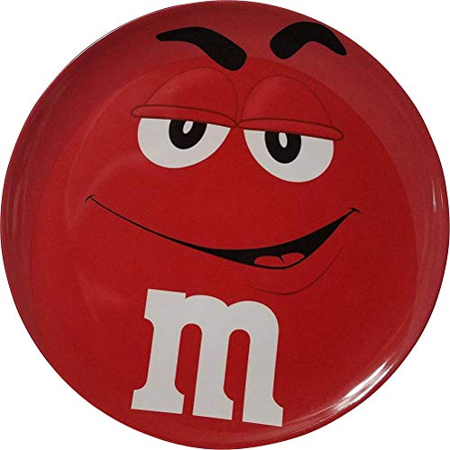 M&M'S RED CHARACTER BIG FACE MELAMINE DINNER PLATE.