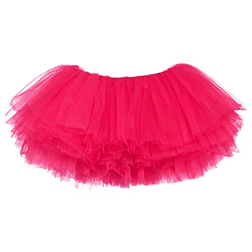 My Lello Little Girls 10-Layer Short Ballet Tulle Tutu Skirt (4 mo. - 3T) -Hot Pink]()