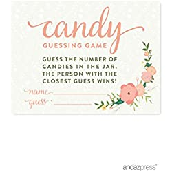 Andaz Press Floral Roses Girl Baby Shower Collection, Games, Activities, Decorations, Candy Guessing Game Cards, 30-pack