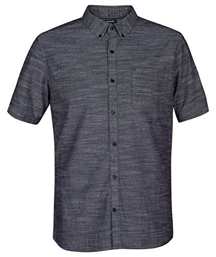 (Hurley Men's One & Only Textured Short Sleeve Button Up, Black,)