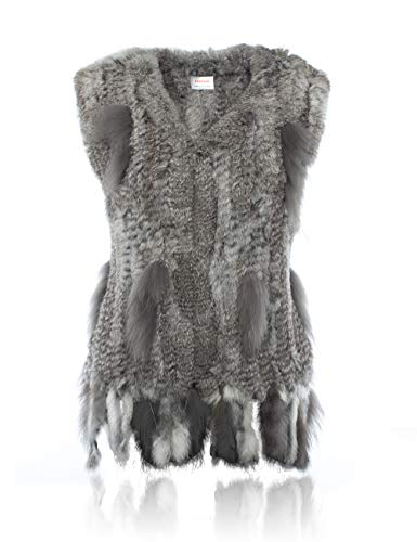 HEIZZI Knitted Rabbit Fur Vest with Raccoon Fur Trim for sale  Delivered anywhere in USA