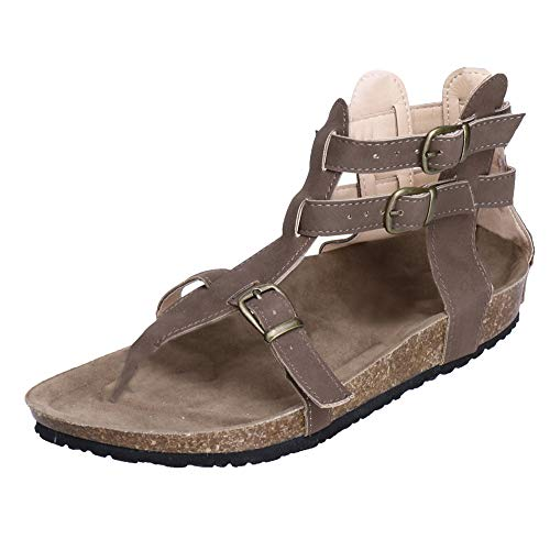 Answerl Womens Buckle Zip Thong Gladiator Sandal Gladiator Braided Flat Sandals Ankle Strap Open Toe Summer Shoes Brown