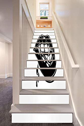 Vampire 3D Stair Riser Stickers Removable Wall Murals Stickers,Sexy Vampire Biting Her Lips Pop Art Print in Flash Tattoo Style Seductive Sensual Decorative,for Home Decor 39.3