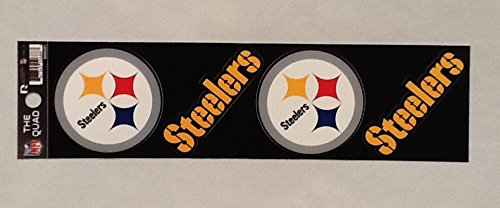 (Rico Industries NFL Pittsburgh Steelers Die Cut 4-Piece The Quad Sticker Sheet)