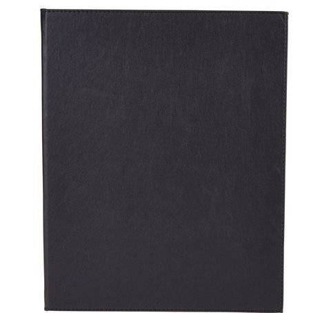 Winco LMD-811BK, Black Leather-Like Booklet Two-Views Menu Cover for 8.5x11-Inch Inserts