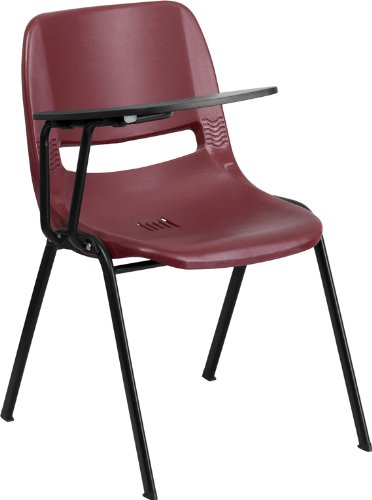 (StarSun Depot Burgundy Ergonomic Shell Chair with Right Handed Flip-Up Tablet Arm 23