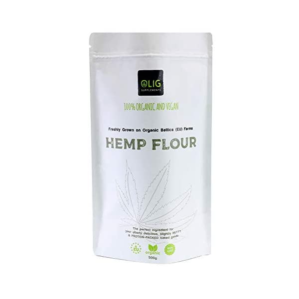 OLIG Supplements Organic & Vegan Hemp Flour (500g) | Non-GMO, Nutrition Packed Hemp Flour for Oatmeal, Smoothies