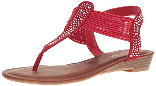 DREAM PAIRS Women Spark Wedge Sandal Red Suede