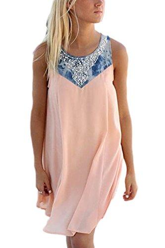 Bloque Casual Mujeres De Color De Camisetas Sin Pink Vestido Túnica Mangas Beachwear caOAzwpqa0