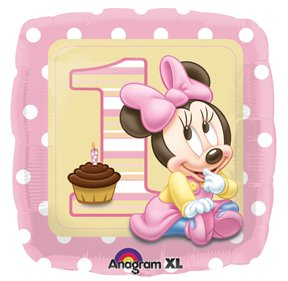 """MINNIE Mouse GIRL #1 1st Pink Polka Dots Square Birthday Party 18"""" Mylar Balloon"""