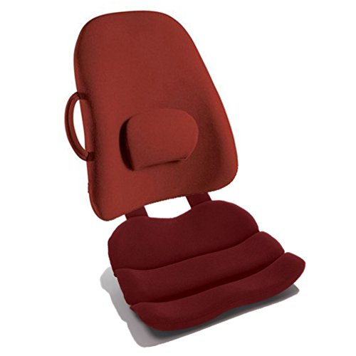 Obus Forme Combo Ergonomic Orthopedic Low Back Backrest And Contoured Seat Cushion - Back/Stress Pain Relieve -Burgundy by ObusCombo