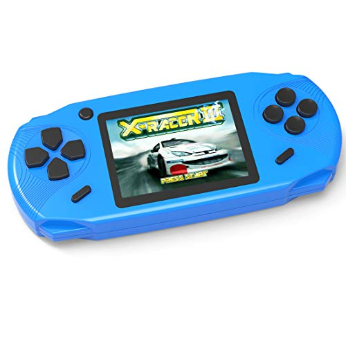 - TEBIYOU Handheld Game Console, Built in 16 Bit100 HD Classic Video Games 3.0'' Large Screen Seniors Electronic Handheld Games Player Birthday Gift for Children Adults (Blue)