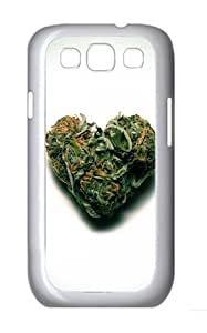 Weed Heart Custom Hard Back Case Samsung Galaxy S3 SIII I9300 Case Cover - Polycarbonate - White