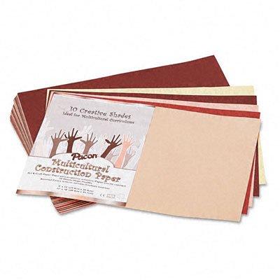 o Pacon o - Multicultural Construction Paper, 12 x 18, Ten Skintone Hues, 50 Sheets/pk