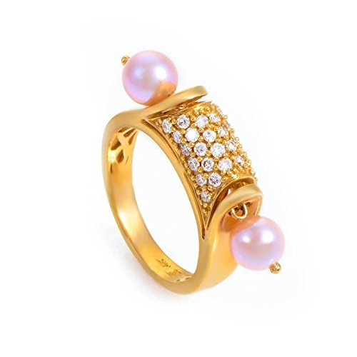 - Luxury Bazaar 14K Yellow Gold Pink Pearl & Diamond Ring