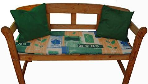 Auflagenset 3-teilig für Gartenbank 2-sitzer, blau/grün gemustert