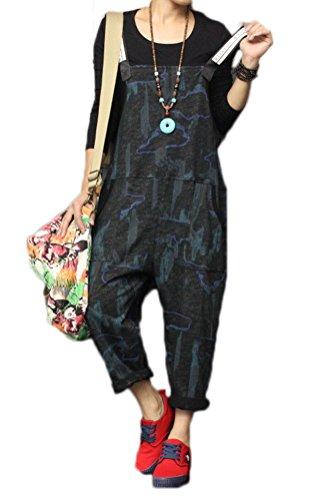 Soojun Womens Casual Print Wide Leg Pants Harem Bib Overalls