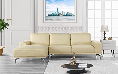 e - Modern Real Leather Sectional Sofa, L-Shape Couch w/Chaise on Left (Beige) ()