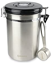 BlinkOne Coffee Canister: Airtight Bean Container Storage with Date Tracking CO2 Valve and Scoop (Large)