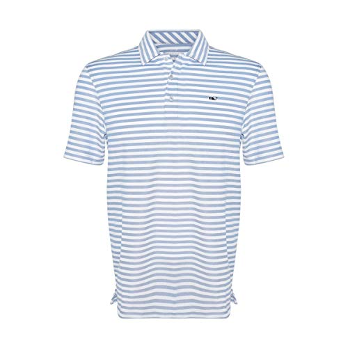 Vineyard Vines Men's Performance Lake Stripe Pique Polo Shirt (Kingfisher, Small) ()