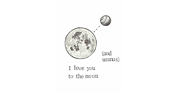My Sun Anniversary Quirky Illustration Valentines Just Because Moon and Stars Eco-Friendly Greeting Card Space Pun Punny Love Card