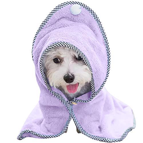 Hony Albornoz para Perro Mascota Toalla de Baño - Secado Rápido Hidrófugo Toalla Súper Absorbente para Perros y Gatos con...