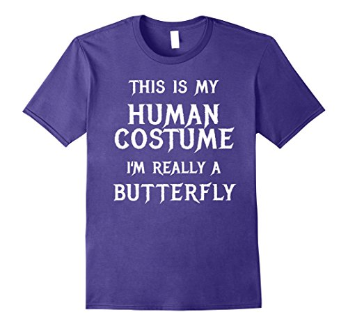 [Mens I'm Really a Butterfly Halloween Costume Shirt Easy Funny Large Purple] (Butterfly Halloween Costumes Ideas)