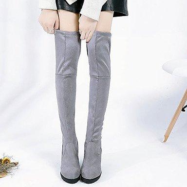 Noir Et Genou Fourrure Bottes Bottes Décontractée Chaussures Chute Femmes Talon Fête Mode La Hiver Gris Bottes Chunky Pour Haut Soir ASzaHzwq