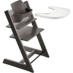stokke tripp trapp chair with baby set tray hazy grey baby. Black Bedroom Furniture Sets. Home Design Ideas