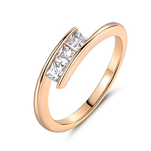 GULICX Princess Ring Square White Cubic Zirconia Tension Set Yellow Gold Tone Promise Band for Women 3 Stone Tension Set Ring