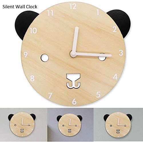 Silent Non Ticking Wall Colck Decorative Bear Shaped Wooden Clocks Cute Battery Operated Clock for Baby Kids Boys Girls Bedroom Décor Nursery School Decorations Children Xmas Birthday ()