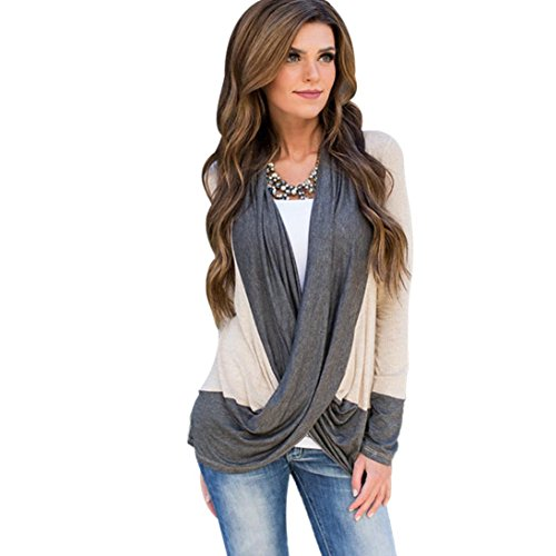 TOPUNDER Women Irregular Splice Cotton Long Sleeve V Neck T Shirts Tops Blouse (M, Khaki)