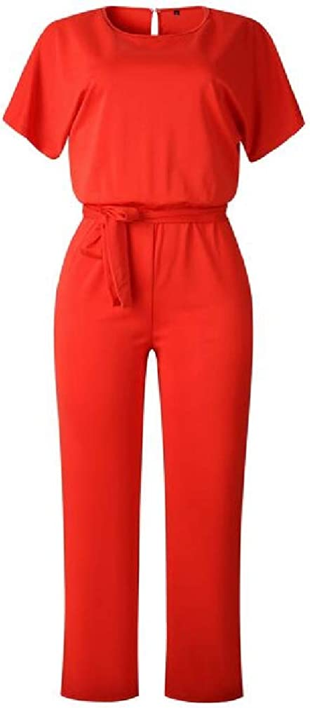 Cromoncent Womens Casual Short Sleeve Belt Wide Leg Rompers Jumpsuits