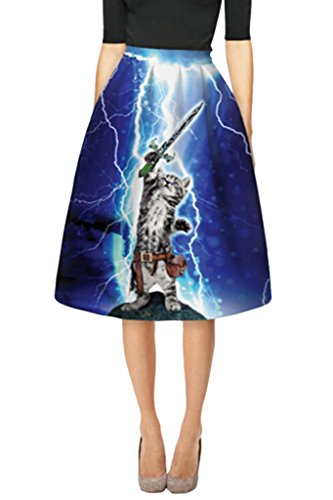 Girl's Cat Control Thunder High Waisted A-line Flared Pleated Midi Skirt (Control Pleated Skirt)