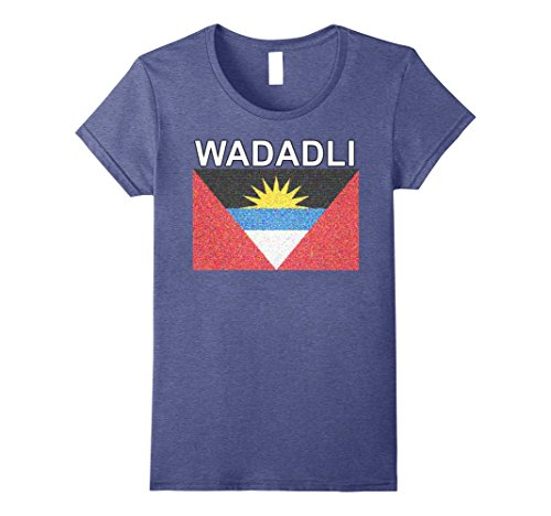 Antigua Ladies Heather (Womens Wadadli Flag Shirt - New Artistic Antigua & Barbuda Tee Large Heather Blue)