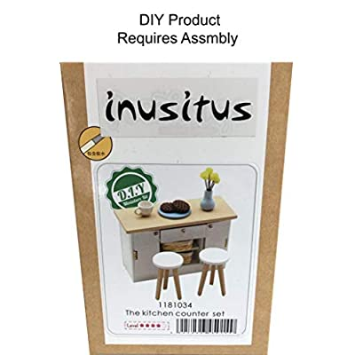 Inusitus DIY Dollhouse Miniature Kitchen Counter Set | Miniature Furniture | Dolls House Kits | Requires Assembly | 1/18 Scale (Kitchen-Island-White): Toys & Games