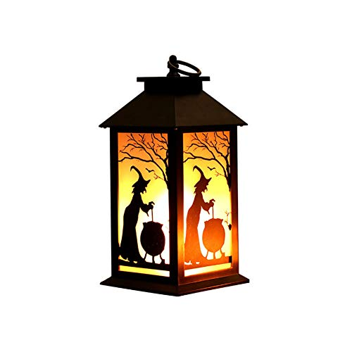 EMOGA Halloween Kerosene Simulated Flame Hanging Light Lamp,Portable Moroccan LED Outdoor Pumpkin,Castle,Ghosts Lantern Glass Candle Decorations 3414CM