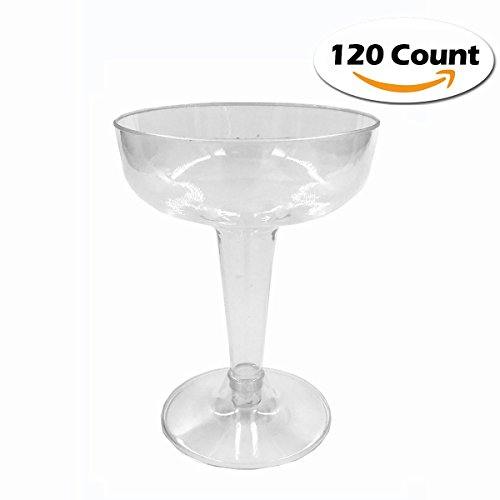 Craft and Party Hard Plastic Two Piece 4-Ounce Champagne Glasses, Clear (120)