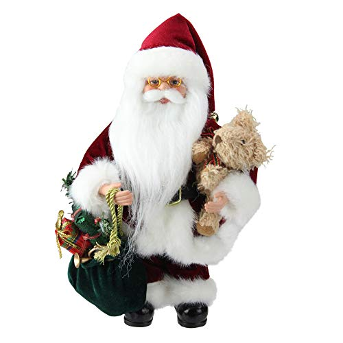 Northlight Santa Claus in Traditional Red Suit Holding A Teddy Bear and Gift Bag Christmas Figure, 12