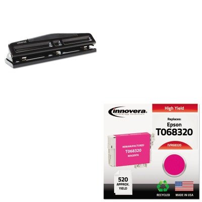 Compatible Reman Ink - KITIVR68320UNV74323 - Value Kit - Innovera Compatible Reman High-Yield T068320 68 Ink (IVR68320) and Universal 12-Sheet Deluxe Two- and Three-Hole Adjustable Punch (UNV74323)