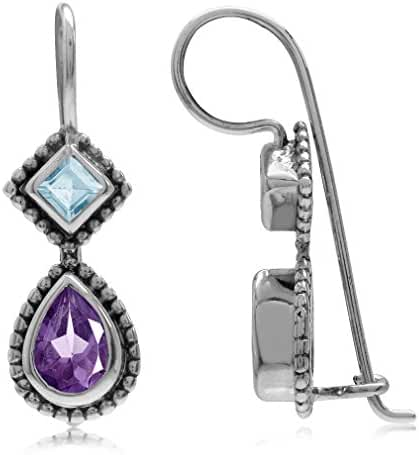 1.24ct. African Amethyst & Blue Topaz Antique Finish 925 Sterling Silver Balinese Hook Earrings