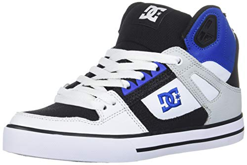 DC Men's Pure HIGH-TOP WC Skate Shoe, Black/White/Blue, 15 D M US