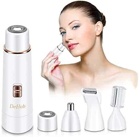 Facial Hair Removal for Women, DeHub Upgraded 2019 Version Waterproof Painless 4 in 1 Lady Grooming Kit-Facial Hair Remover, Body Shaver, Nose Hair & Eyebrow Trimmer, USB Rechargeable